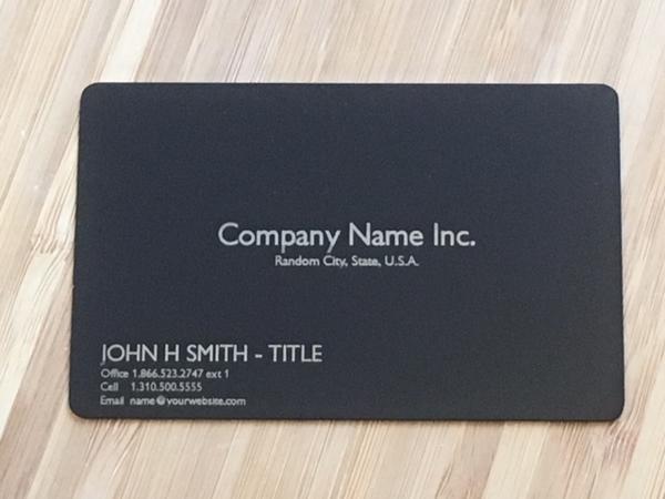 Matte Black Metal Business Card template #1